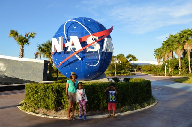 At the front entrance of the Kennedy Space Center