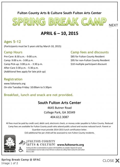 South Fulton Arts Center Spring Break